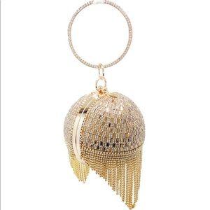 Dazzling Crystal Tassel Round Wristlet Chain Bag